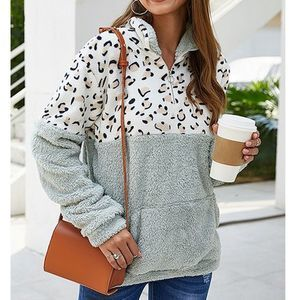 Leopard 1/4 Zip Color Block Faux Fur Pullover L